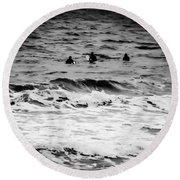 Silver Surfers Round Beach Towel