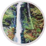 Silver Thread Falls Round Beach Towel
