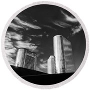 Silver Towers Round Beach Towel by Dave Bowman