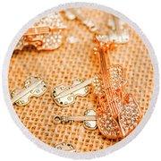 Silver Violin Pendant With Diamonds Round Beach Towel