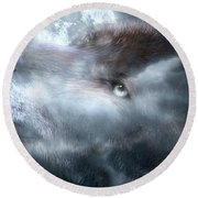 Silver Wolf Round Beach Towel
