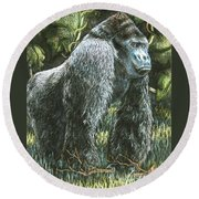 Silverback-king Of The Mountain Mist Round Beach Towel