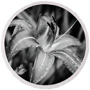 Silvered Lily Round Beach Towel