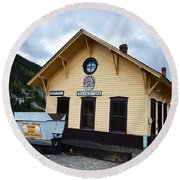 Silverton Train Depot Round Beach Towel