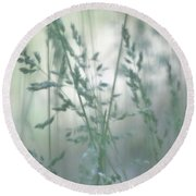 Silvery Green Grasses Round Beach Towel