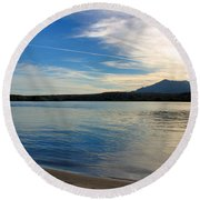 Silvery Reflection Round Beach Towel