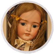 Simon And Halbig Antique Doll Round Beach Towel