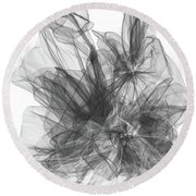 Simple Black And White Abstract Round Beach Towel