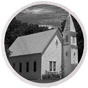 Simple Country Church - Bw Round Beach Towel