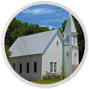 Simple Country Church Round Beach Towel