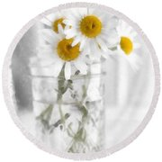 Simple Flowers Round Beach Towel