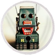 Simple Robot From 1960 Round Beach Towel
