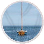Simple Sailboat  Round Beach Towel