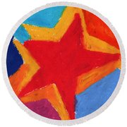 Simple Star-straight Edge Round Beach Towel