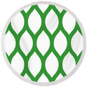 Simplified Latticework With Border In Dublin Green Round Beach Towel