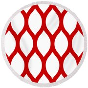 Simplified Latticework With Border In Red Round Beach Towel