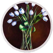 Simply Tulips Round Beach Towel