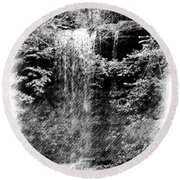 Simulated Pencil Drawing Tinker Falls. Round Beach Towel