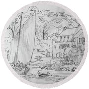 Sinagot At The Pink House Vannes France Round Beach Towel