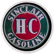 Sinclair Gasoline Porcelain Sign Round Beach Towel