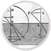 Sine Law Of Refraction, Descartes, 1637 Round Beach Towel