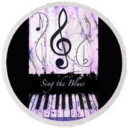 Sing The Blues Purple Round Beach Towel