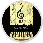 Sing The Blues Yellow Round Beach Towel
