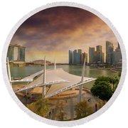 Singapore City Skyline By Marina Bay Sunset Round Beach Towel
