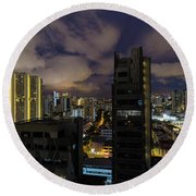 Singapore Cityscape On A Cloudy Night Round Beach Towel