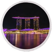 Singapore In Purple 1 Round Beach Towel