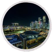 Singapore Modern Skyline By The River At Night Round Beach Towel
