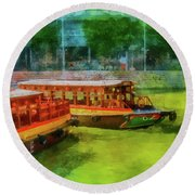 Singapore River Boats Round Beach Towel