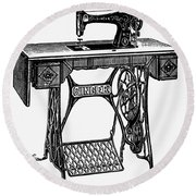 Singer Sewing Machine Round Beach Towel
