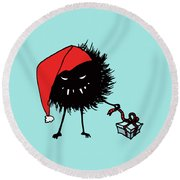 Singing And Dancing Evil Christmas Bug Round Beach Towel