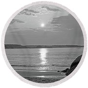Singing Beach Rocky Sunrise Manchester By The Sea Ma Sand Black And White Round Beach Towel