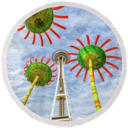 Singing Flowers Under The Space Needle Round Beach Towel