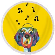 Singing The Blues - Dog Humor Round Beach Towel