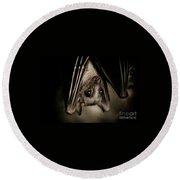 Single Bat Hanging Portrait Round Beach Towel