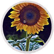 Single Flower Round Beach Towel