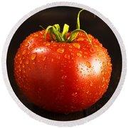 Single Fresh Tomato With Dew Drops Round Beach Towel