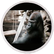 Single Gorilla Sitting Alone Round Beach Towel