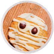 Single Homemade Mummy Cookie For Halloween Round Beach Towel