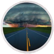 Single Lane Road Leading To Storm Cloud Round Beach Towel