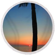 Single Palm And Sunset Round Beach Towel