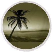 Single Palm At The Beach Round Beach Towel