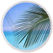 Single Palm Frond Round Beach Towel