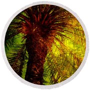 Single Palm Round Beach Towel