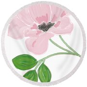 Single Pink Flower Round Beach Towel