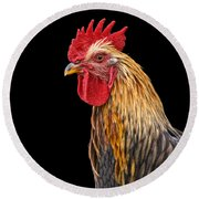 Single Rooster Round Beach Towel