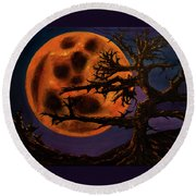 Sinister Moon Round Beach Towel